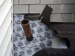 Roof Flashing Installation against Brick Chimneys & vents. Bergen County NJ. New Jersey roofers flat cost & instruction videos.